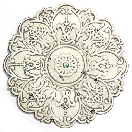 Stratton Home Décor S11563 Small Medallion Wall Décor, 13.00 W X 0.50 D X 13.00 H, White (Metal Decor Medallion Wall)