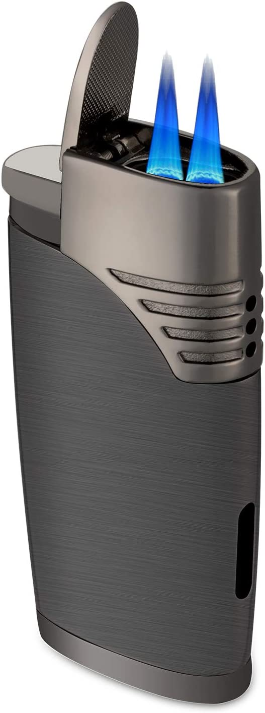 ZGAR Torch Cigar Lighter, 2 Jet Flame Butane Refillable Cigar Lighter with Punch, Gunmetal Gray