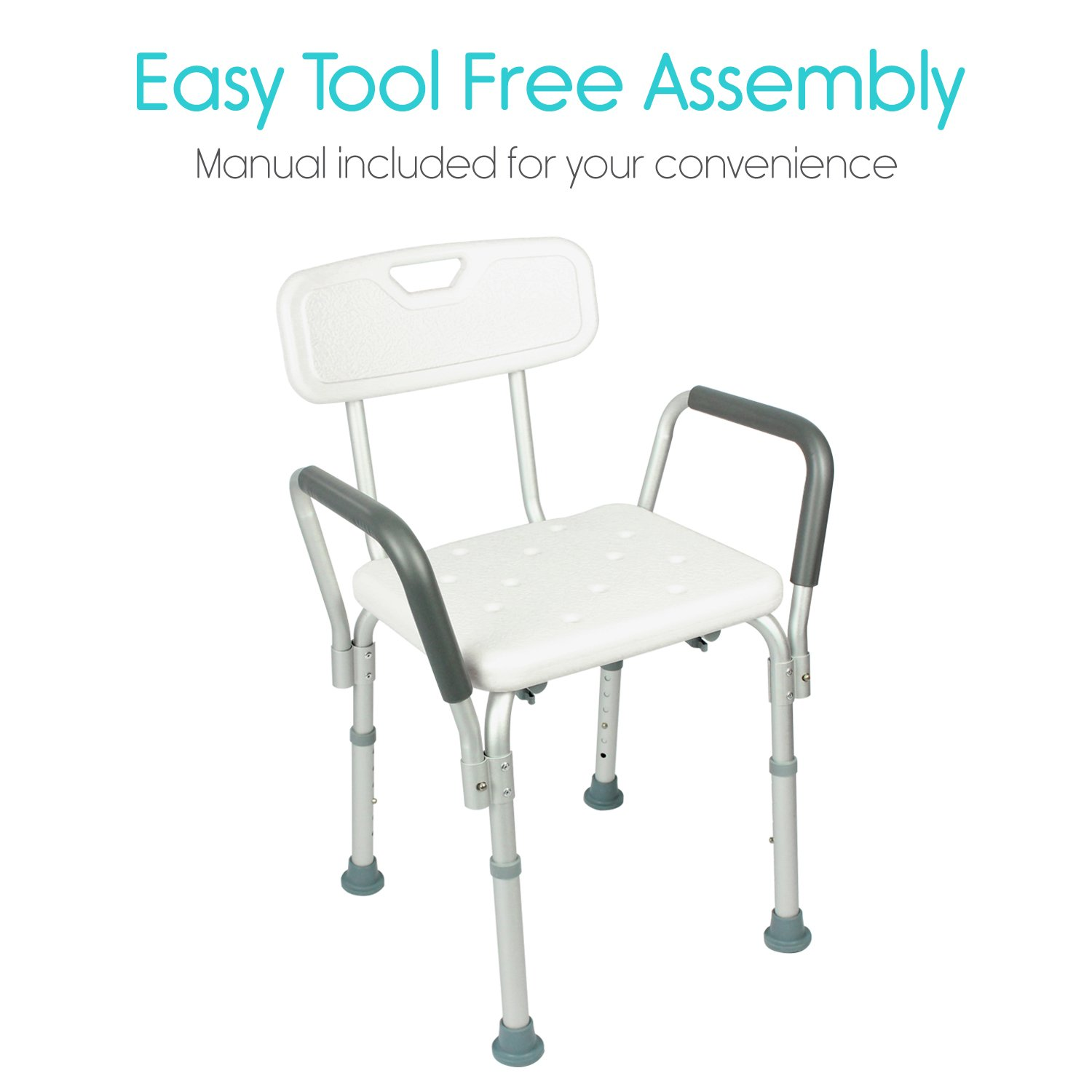 Amazon.com: Shower Chair with Back by Vive - Bathtub Chair w/ Arms ...