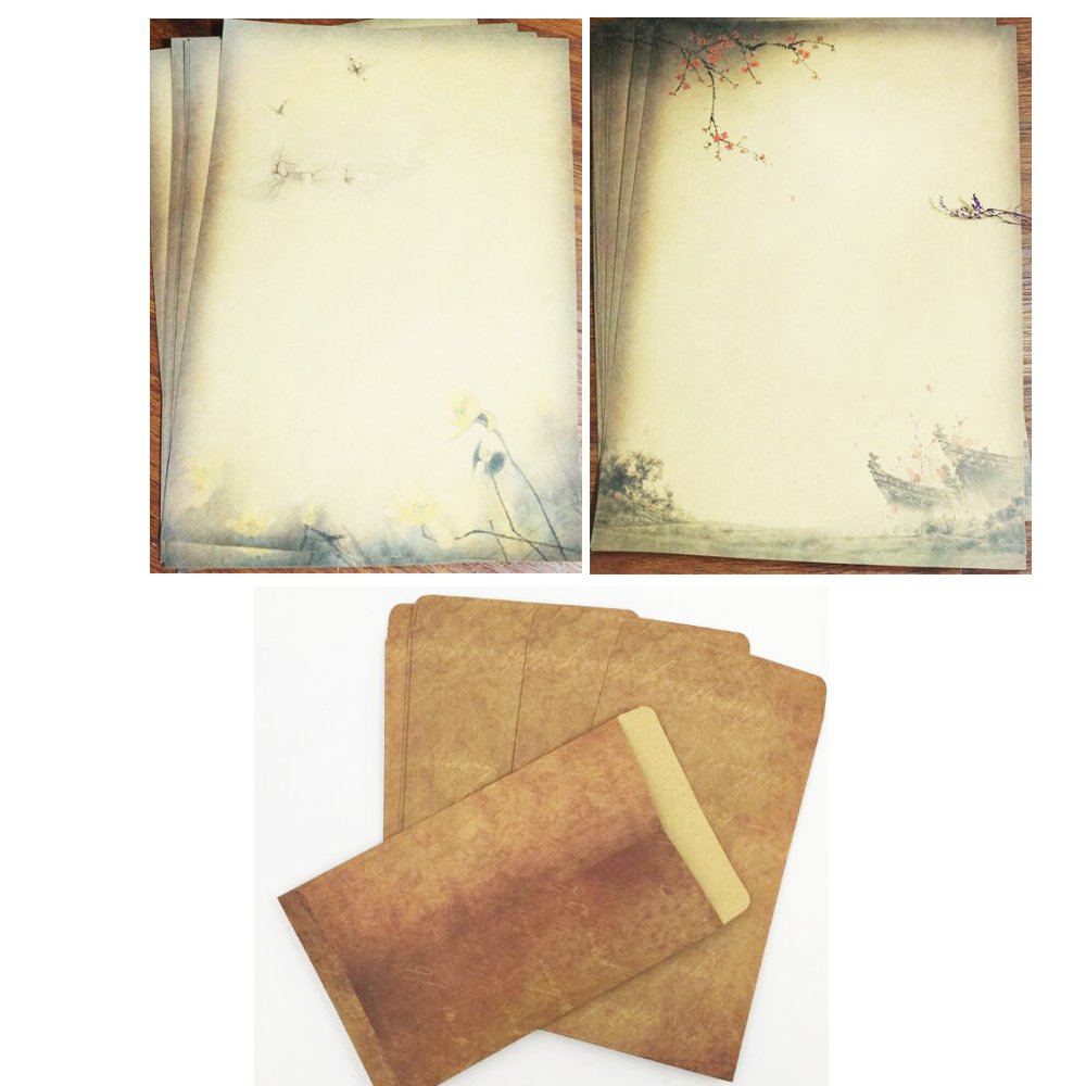 QingLanJian Vintage Kraft Paper Writing Paper with Envelopes Stationary Sets-32 Sheets and 16 Envelopes