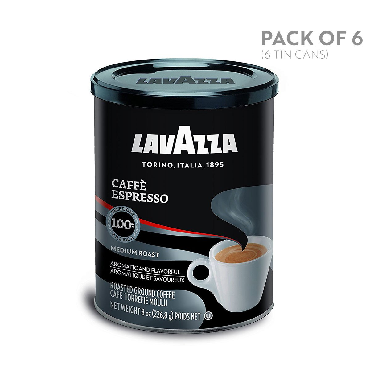 Lavazza Caffe Espresso Ground Coffee Blend, Medium Roast, 8-Ounce Cans (Pack of 6)