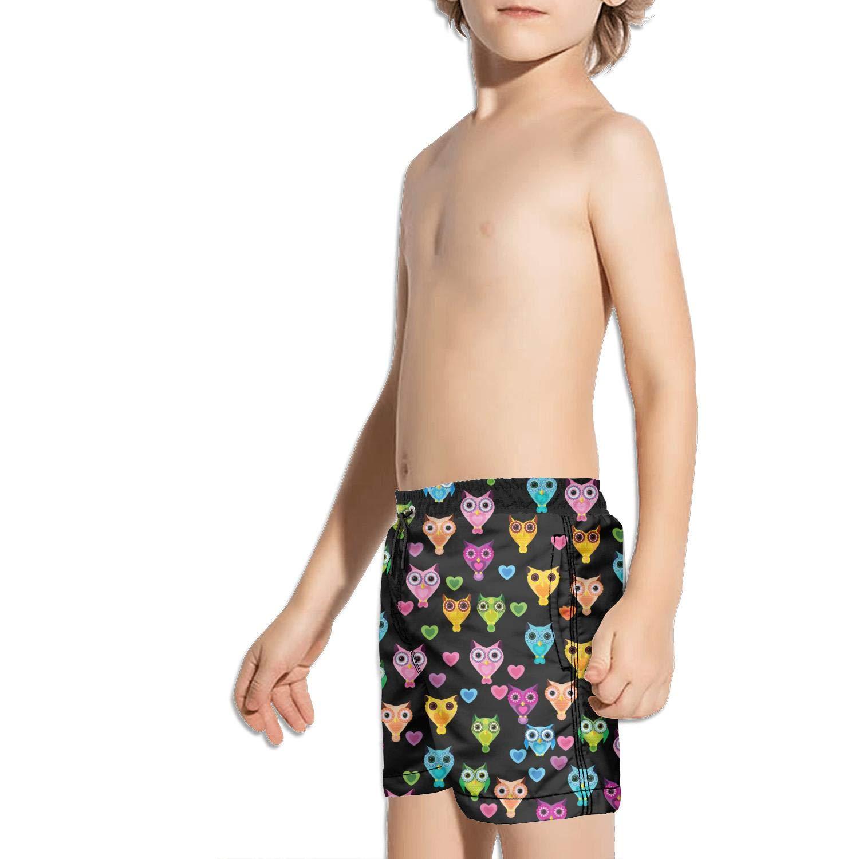 FullBo Colorful Cartoon owl Little Boys Short Swim Trunks Quick Dry Beach Shorts