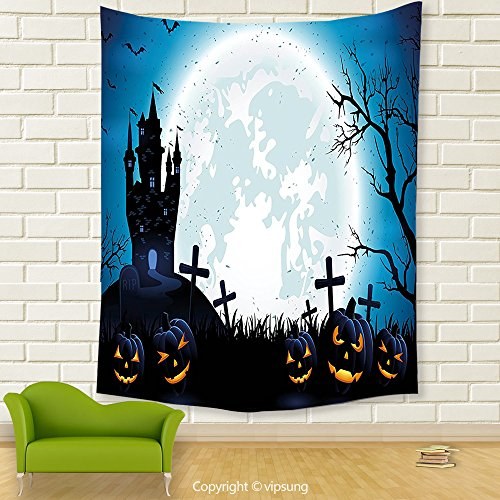 Vipsung House Decor Tapestry_Halloween Decorations By Spooky Concept With Halloween Icons Old Celtic Harvest Festival Figures In Dark Image Decor Blue_Wall Hanging For Bedroom Living Room (Halloween Harvest Festival United States)