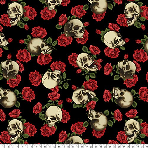 Skulls & Roses Black Fleece Fabric by The