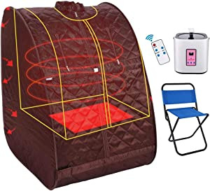 Casulo Personal Portable Steam Sauna Home Spa detoxwith Collapsible Chair, Timer, Waterproof one-Person Portable Sauna Relaxes Muscles/Burn Calories/Weight Loss (Red)