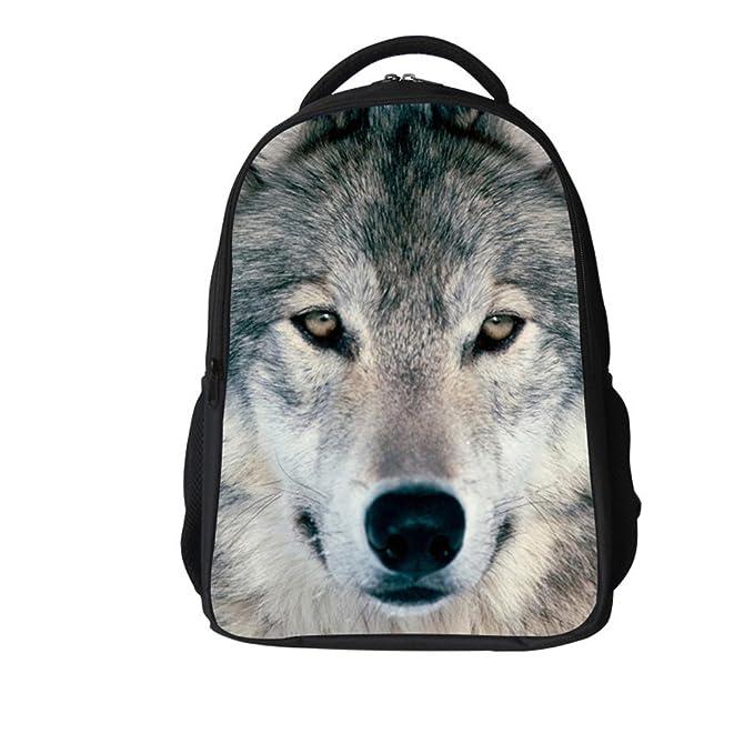 9a465bce70d Skymoon Unisex 3D Print Wolf Animal School Bag Student Backpacks