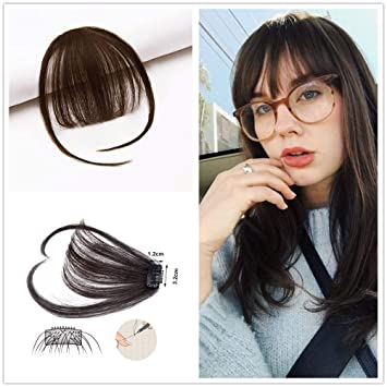 Amazon Com Hikyuu One Piece Clip In Hair Bangs Medium Brown