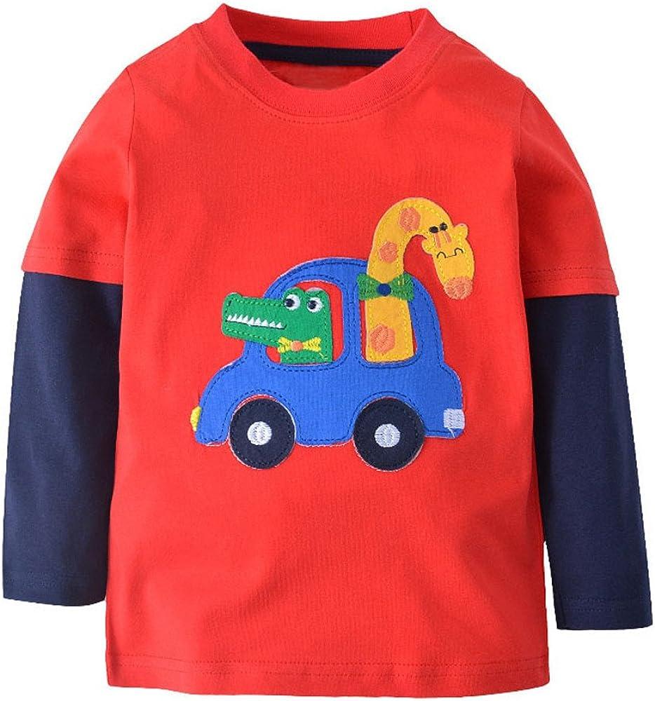 Qtake Fashion Boys Clothes Stripe Print Tops Cotton Crewneck Long Sleeve Cartoon T-Shirt Kids Sweatshirt
