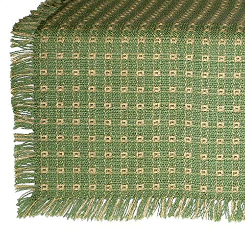 70 Inch Round Homespun Tablecloth, Hand Loomed, 100% Cotton, Sage/Stone