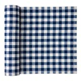 MYdrap SA21V/401-0 Cotton Printed Luncheon Napkin, 7.9'' Length x 7.9'' Width, Blue Vichy (10 Rolls of 20)