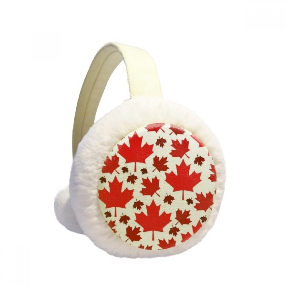 Canada Flavor Leaves Canadian Maple Flag Winter Earmuffs Ear Warmers Faux Fur Foldable Plush Outdoor Gift DIYlab sku00875323b873158f2794