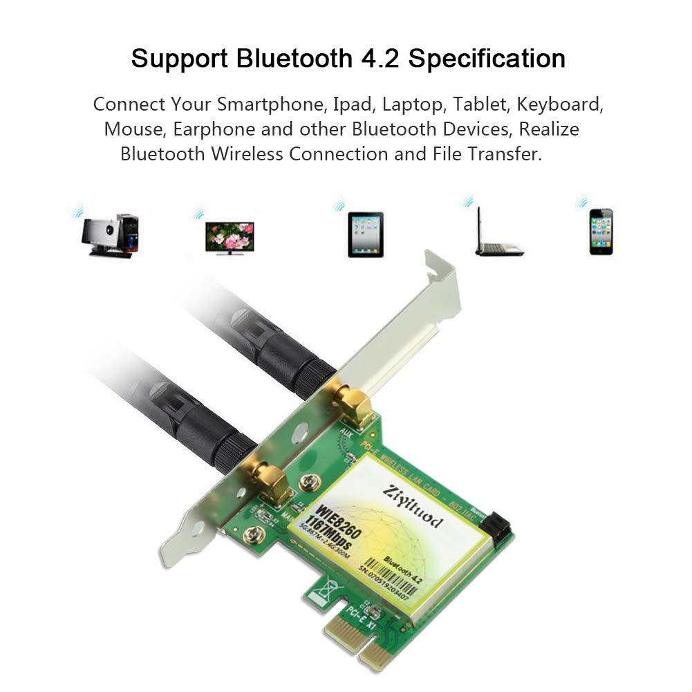 PCIe-WLAN-Netzwerkkarte Dual Band PCI-e-Karte mit Bluetooth 4.2 f/ür Desktop Ziyituod AC1167 Mbit//s Bluetooth-Adapter 2,4 GHz, 300 Mbit//s oder 5 GHz, 867 Mbit // s