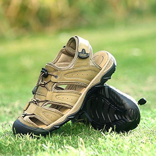 SK Studio Men's Sandals Athletic Sport Leather Sandal Close-Toe Beach Shoes Khaki gX6nbsR