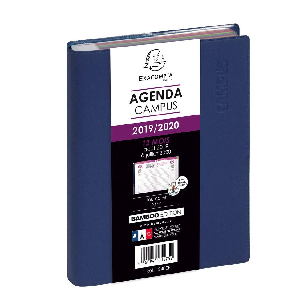 Exacompta Campus Forum - Agenda escolar, Agosto 2018 - Julio 2019, formato diario, Negro 12 x 17 cm