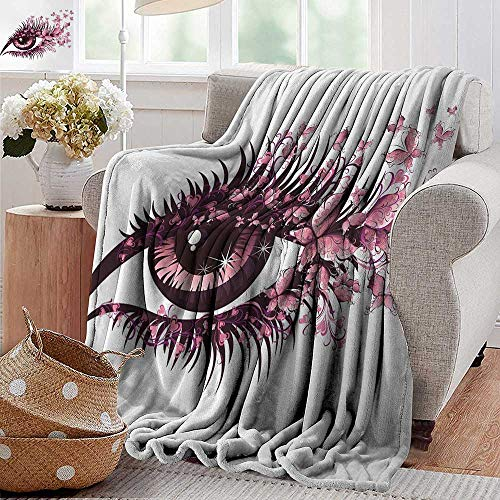 Summer Blanket,Butterflies,Fairy Female Eye with Butterflies Eyelashes Mascara Stare Party Makeup,Light Pink Purple,Lightweight Breathable Flannel Fabric,Machine Washable -