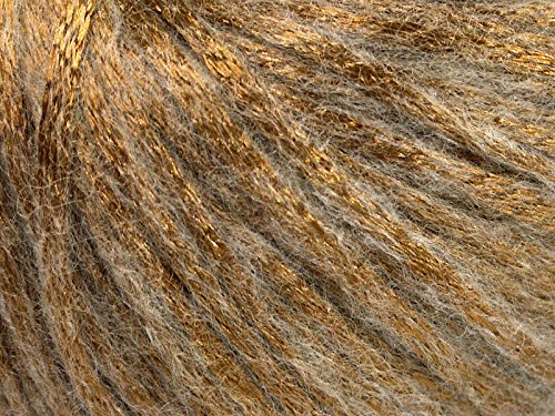 Rock Star, Bronze Beige, Metallic Shine, Soft Nylon, Merino Wool, Acrylic Blend Yarn, 50 Gram - Yarn Shine Worsted