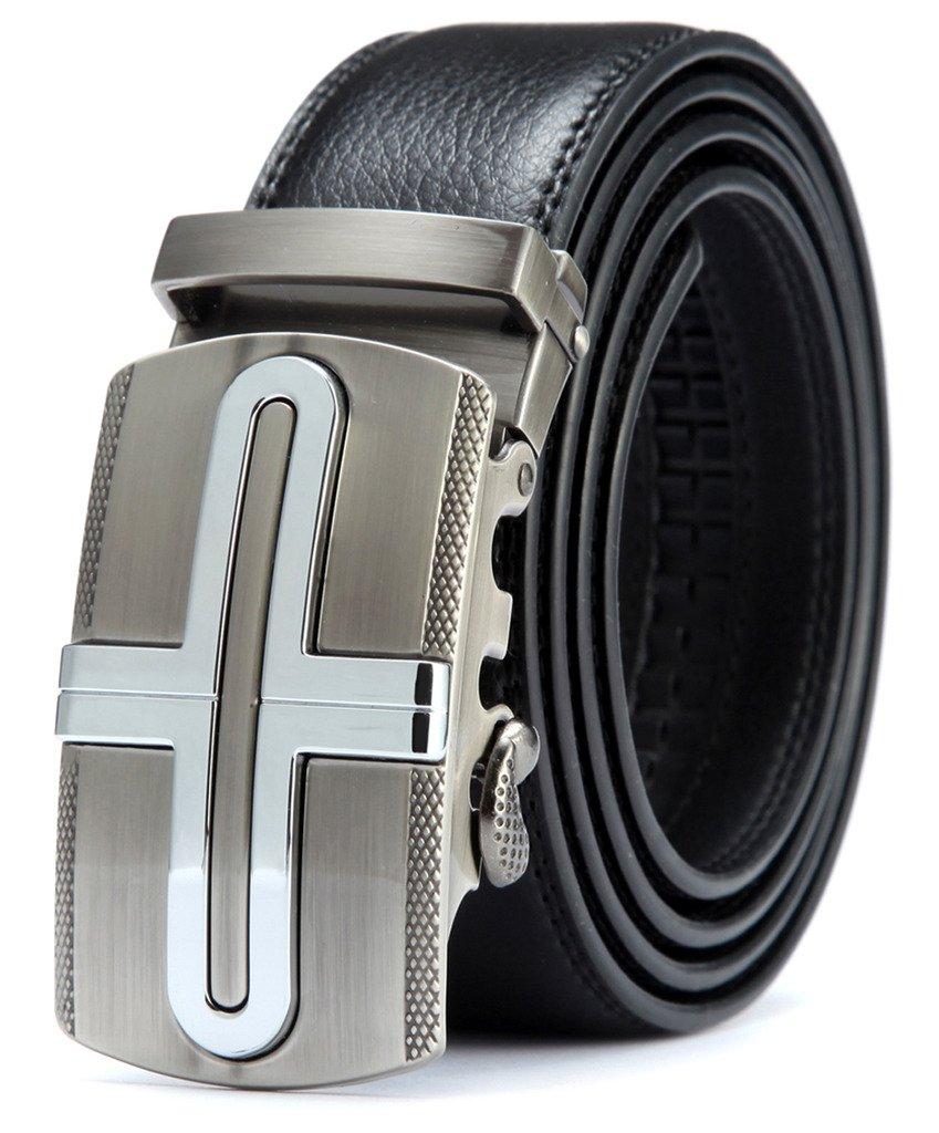 Squeple Men's Ratchet Belt with Zinc Alloy Automatic Buckle 42-46inch LY25-0443-1-130