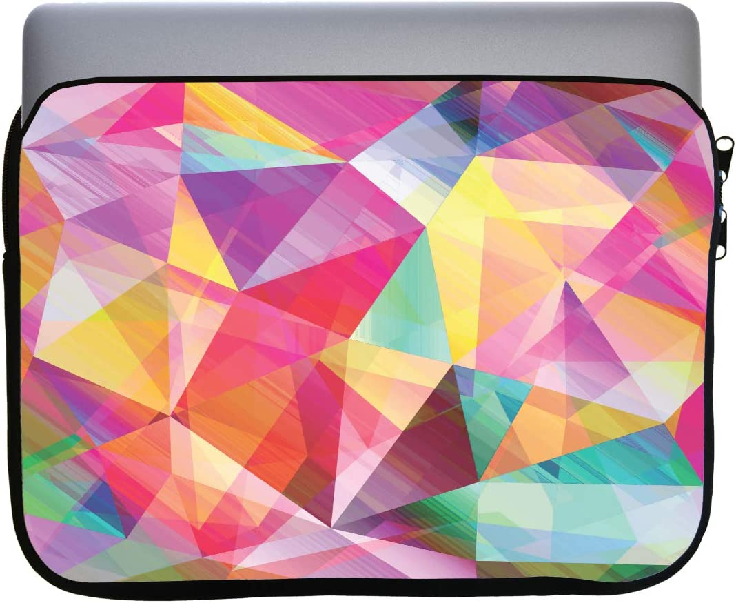 Bright Rainbow Polygon Design 13x10 inch Neoprene Zippered Laptop Sleeve Bag by egeek amz for MacBook or Any Other Laptop