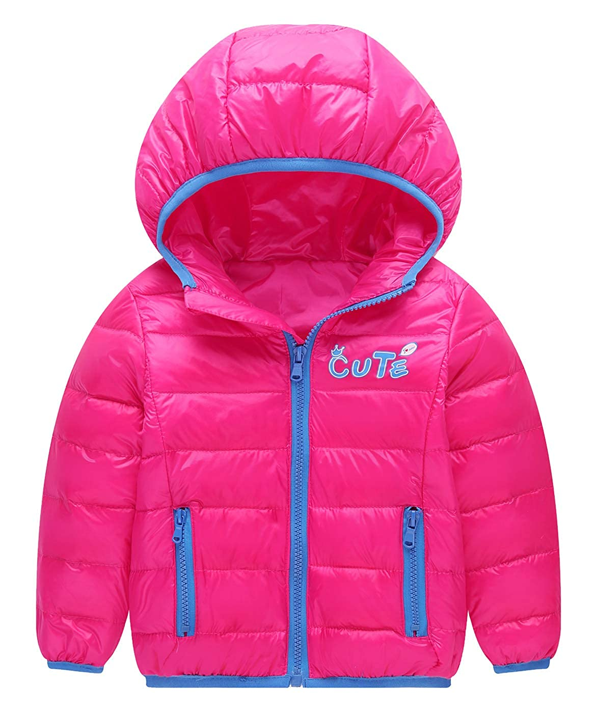 Happy Cherry Boys Girls Winter Puffer Down Jacket Kids Warm Coat Thicken Hoodie Outfit Lightweight Snowsuit 3-4T