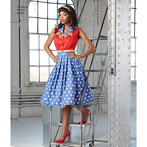 Simplicity Pattern 8481 AA Misses and Womens Rockabilly Costume Dresses, Size 10-18