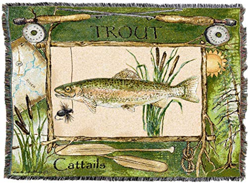 Pure Country Weavers | Fisherman's Catch Trout Lodge Fishing Woven Tapestry Throw Blanket with Fringe Cotton USA 72x54