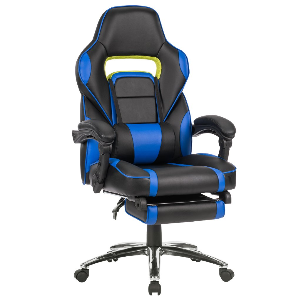 LANGRIA High Back Reclining Gaming Office Chair With Padded Footrest - Racing Style Faux Leather Executive Computer