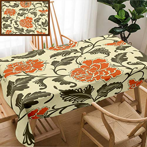 "Skocici Unique Custom Design Cotton and Linen Blend Tablecloth Ornamental Colored Antique Floral Pattern IllustrationTablecovers for Rectangle Tables, 70"" x 52"""