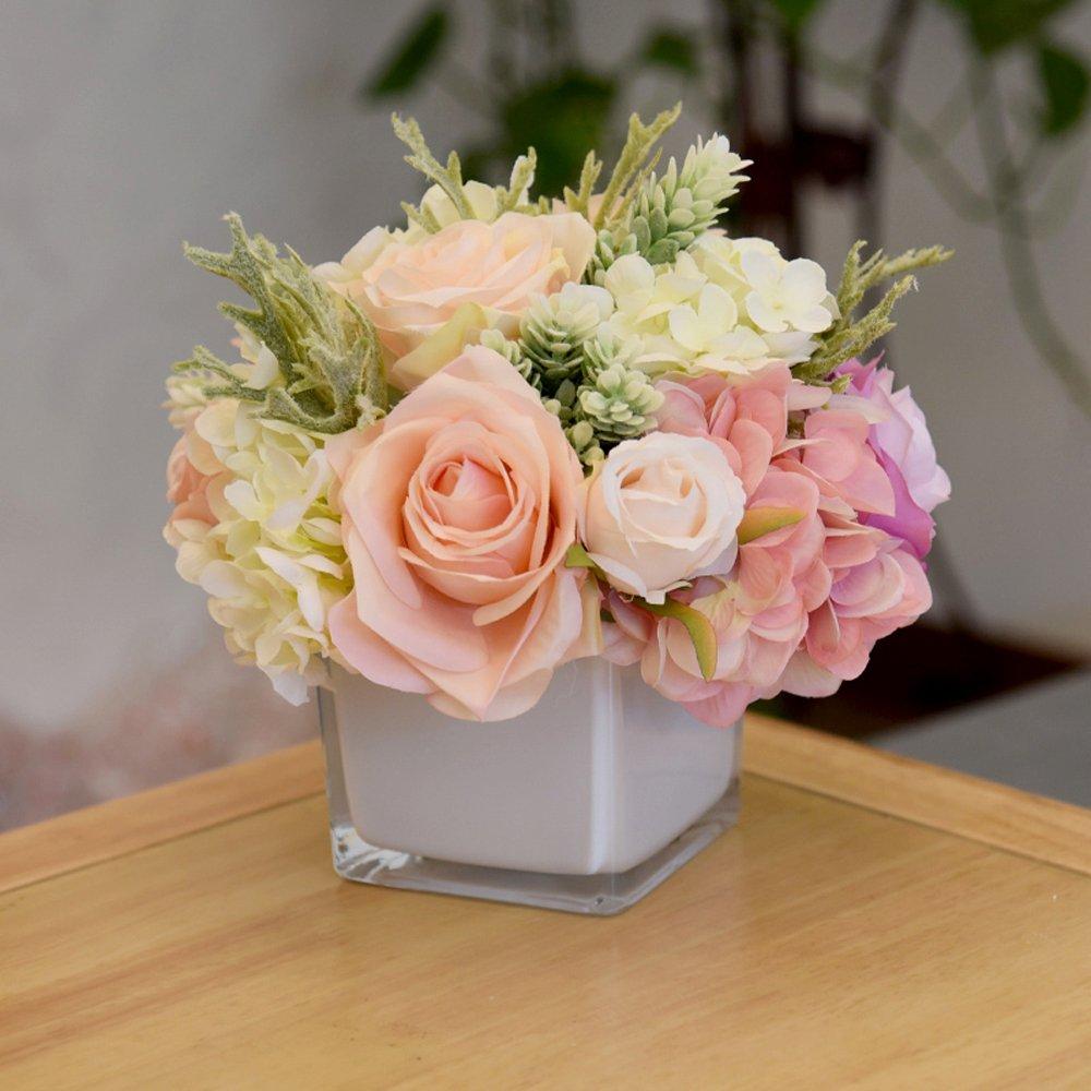Amoleya Flower Arrangements 9 Inch Handmade Artificial Silk Rose