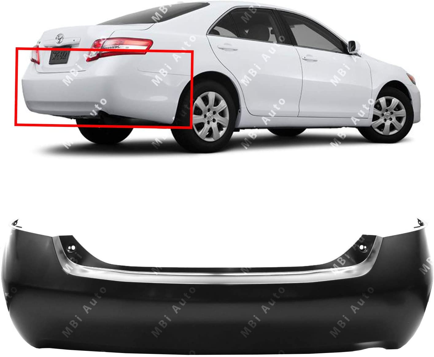 Primered TO1100244 MBI AUTO Rear Bumper Cover Replacement for 2007-2011 Toyota Camry 07-11