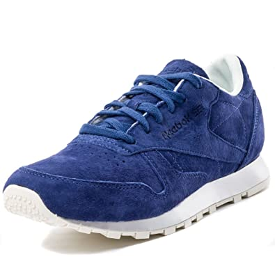 Reebok Classic Leather New Metal Womens Leather Trainers Blue 37 EU