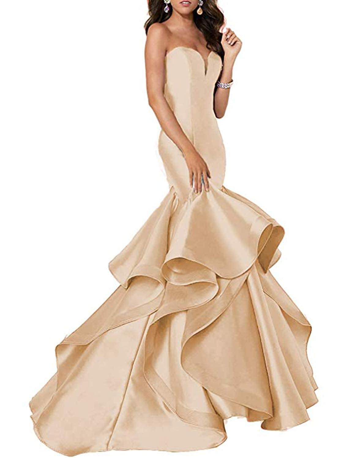 Champagne Scarisee Women's Sweetheart Mermaid Prom Evening Party Dresses Tiered FormalSA51