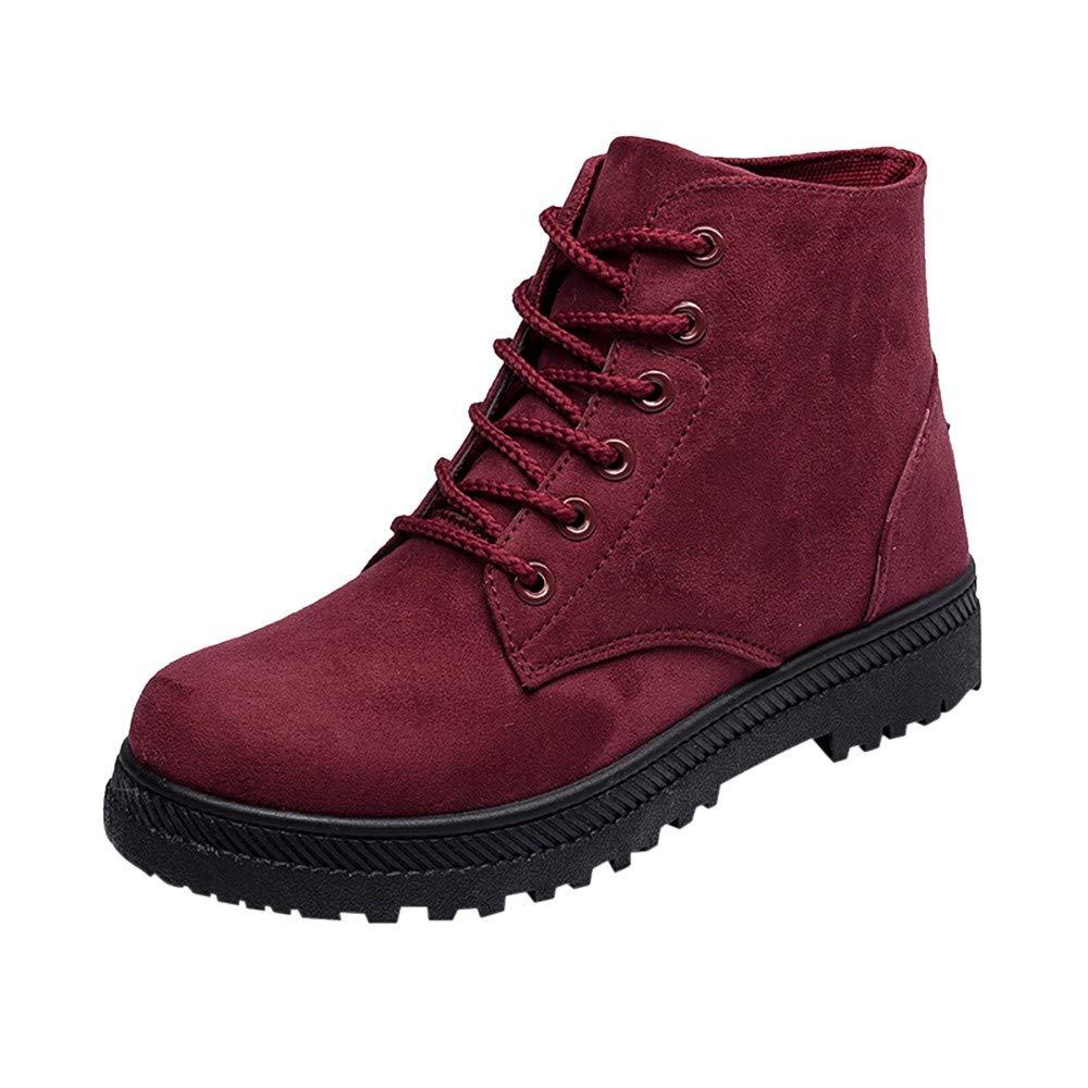 RBNB-bottes femme Hiver Lacets Mode Bottes Plates Chaussures Chaudes Casual avec Doublure Chaude Martin Bottines de Motard Bottes Femme Rouge