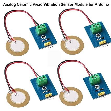 MakerHawk 4pcs Analog Ceramic Piezo Vibration Sensor Module 3 3V/5V for  Arduino DIY Kit