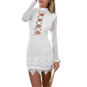 Kalin L Women Keyhole Hollow out Long Sleeve Lace Party Dress (S, White)