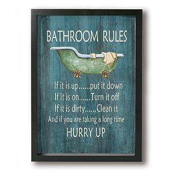 Art-logo vintage règles de salle de bain baignoire Douche sur toile ...
