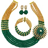 Product review for laanc Womens Girls Necklace Bracelet 5 Rows Gold AB and Colorful Crystal Beads African Jewelry Sets