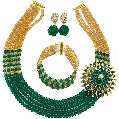 laanc Womens Girls Necklace Bracelet 5 Rows Gold AB and Colorful Crystal Beads African Jewelry Sets (Gold AB Army Green)