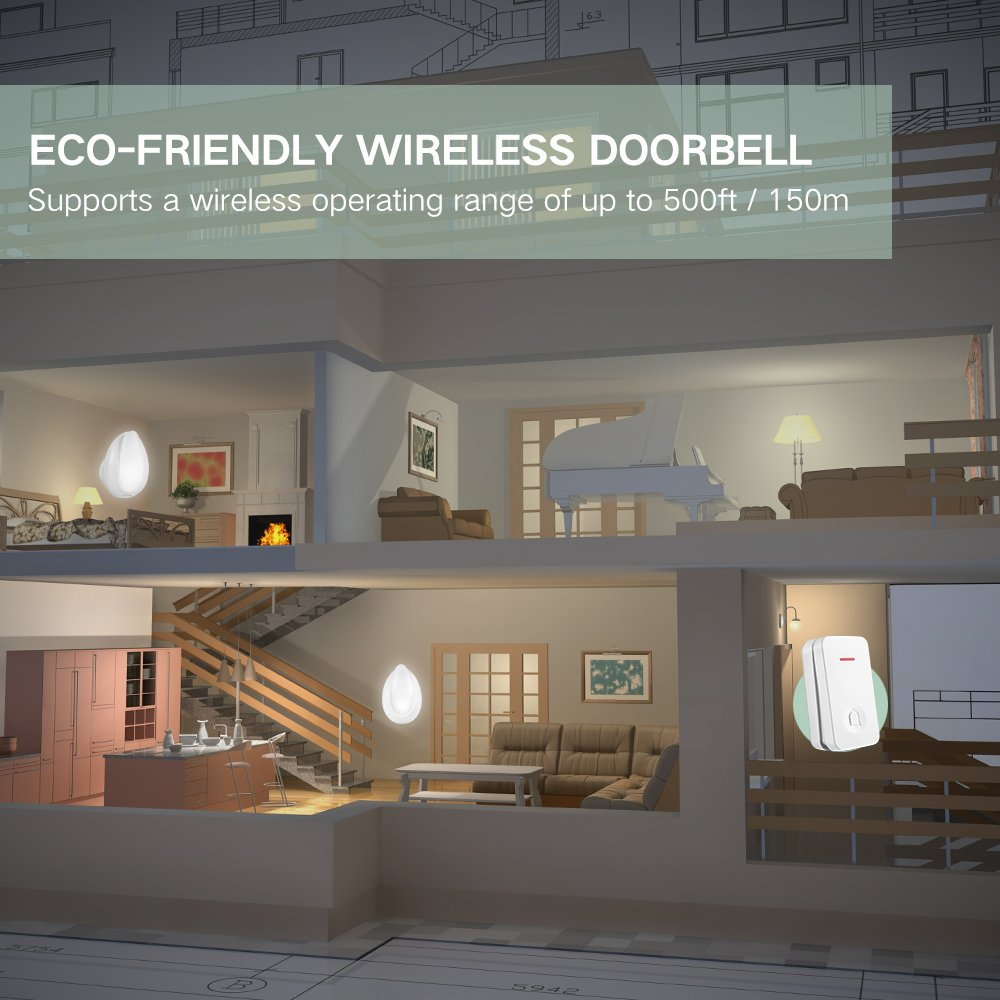 NOVETE Ecody Wireless Doorbell with LED Light, Door Chime Kit w/ Kinetic Self Powered (No Battery Required) and IP7 Waterproof Weatherproof (Immersible in water) Transmitter
