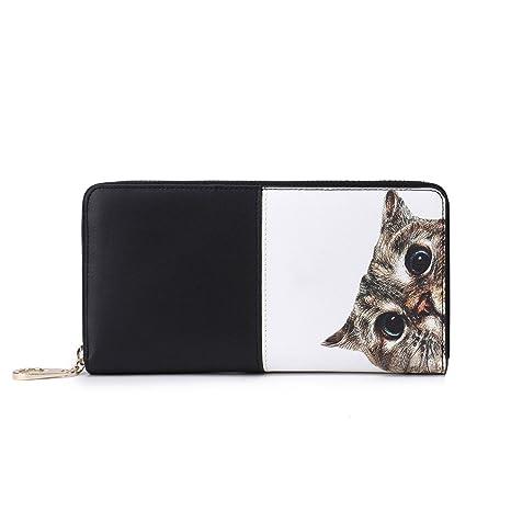 Carteras Gato de Mujer Monedero Grande Negro Bolso Moda Billetera Cremallera Largo para iPhone 7 Plus