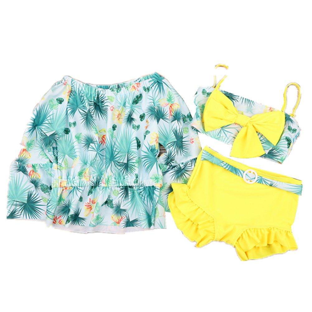 Girls Three-Piece Swimsuit Toddler Child Floral Bikini
