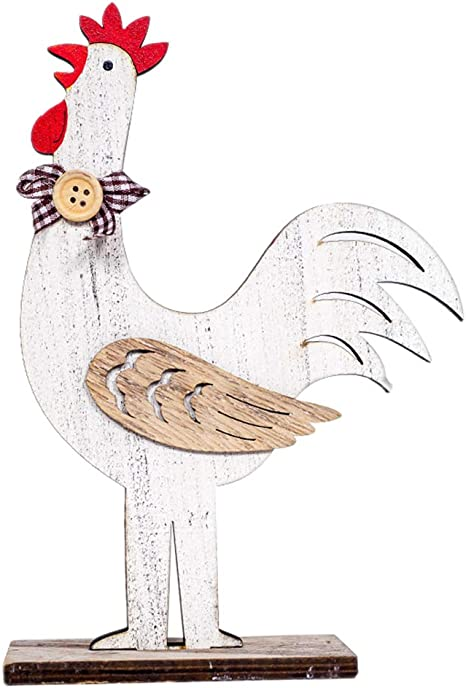 Creative Wooden Rooster Hen Shape Chicken Easter Crafts Decorative Ornament