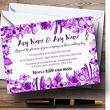 Acuarela Indigo Cadbury morado Floral personalizado invitaciones de ...