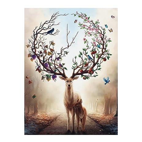 JUANYA Art Oil Painting Deer Painted Wall Art Hand Canvas Paintings For  Home Bedroom Living Room