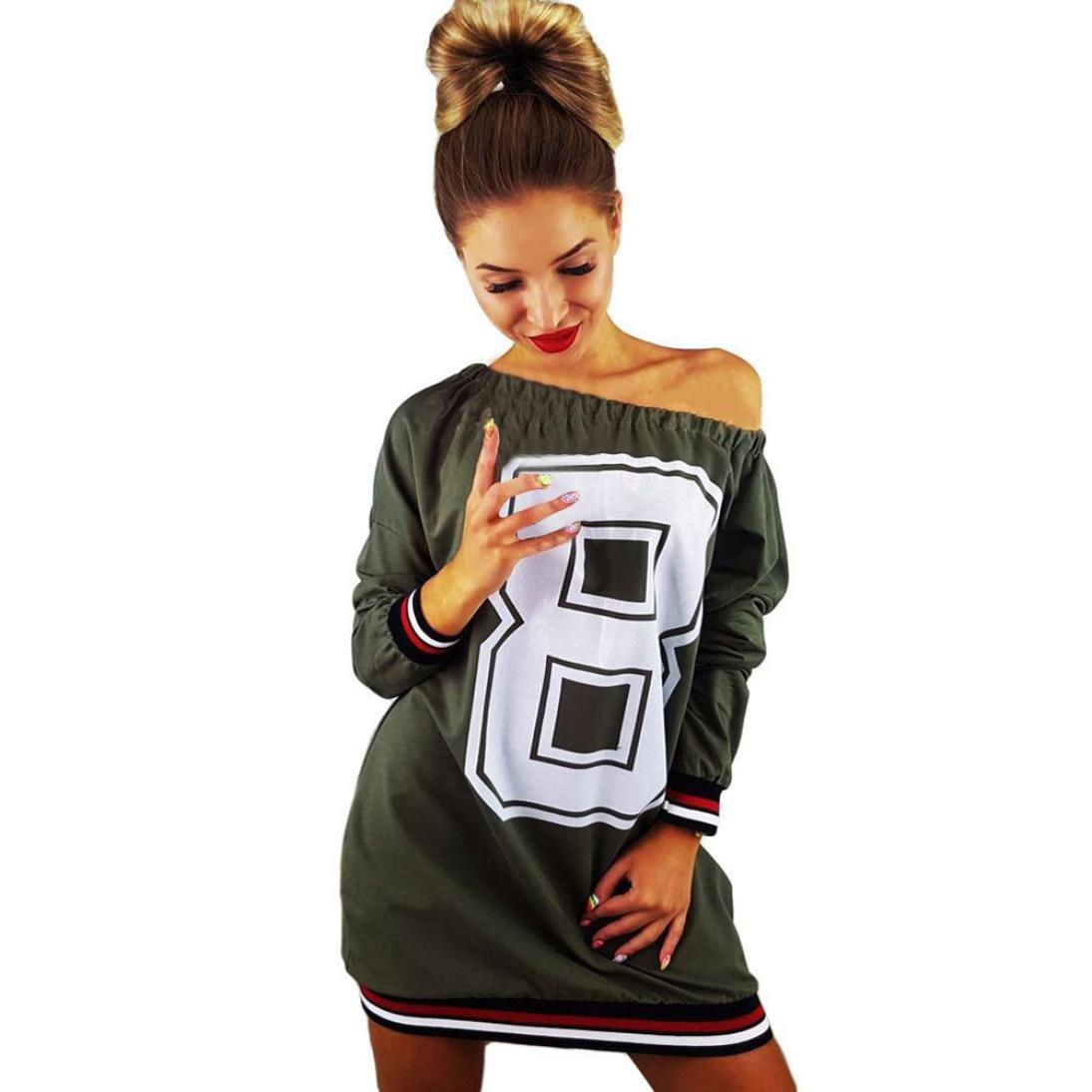 Longra Damen Schulterfrei Pullover Kleid Baseball Langarmshirt ...