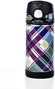 Thermos Funtainer Plaid Design Bottle With Straw, Keeps Contents Cold For Up To 12 Hours, Durable Stainless-steel Interior And Exterior, Double Wall Vacuum Insulation, Colorful Design, 12 Ounces