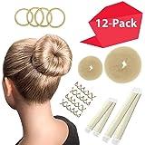 Hawwwy 12-piece Hair Bun Maker, Easy Fast Bun Tool Best Sellers Kit Short Long Full Thin Hair Women Girls Kids Toddler…
