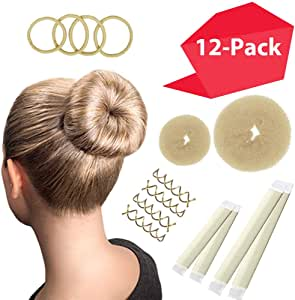 Hawwwy 12-piece Hair Bun Maker, Easy Fast Bun Tool Best Sellers Kit Short Long Full Thin Hair Women Girls Kids Toddler Perfect Ballet Sock Accessory Blonde (2 Donuts +2 Magic Snap & Roll +4 Spin Pins)