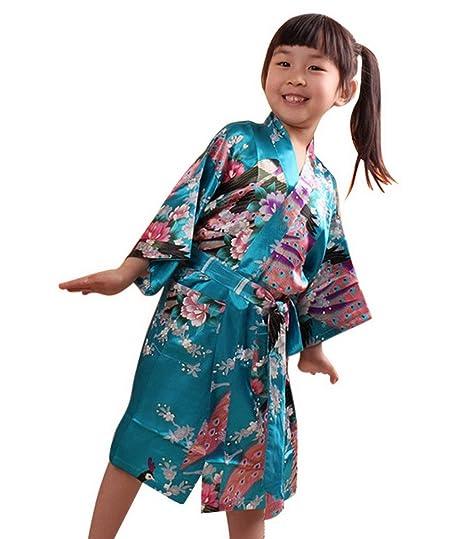 ff371db610d Kimono Robe de Chambre Enfant Fille en soie Artifielle - Peignoir Imprimé  Longue pour Automne - Age Adapté 4-14 ans  Amazon.fr  Vêtements et  accessoires