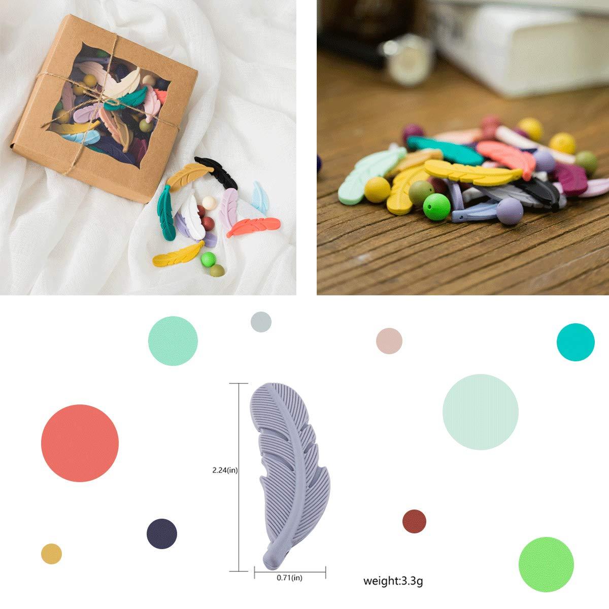 lets make Perles de Dentition en Silicone DIY Kit Daccessoires Dallaitement pour B/éb/é 100pc perles de Plumes de Silicone de Couleur Brillante Sans BPA Fabrication de Collier Cadeau de la M/ère