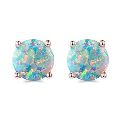 Amazoncom Smidola Round Created Opal Stud Earrings Rose Gold Tone